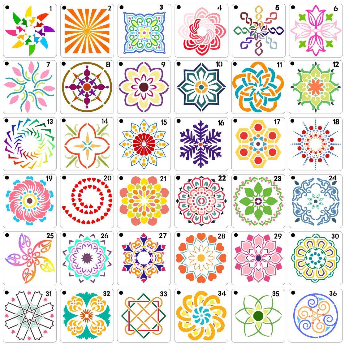36 PCS Mandala Stencils Mandala Dot Painting Stencils Templates for Rocks Wood Wall Painting Art Projects