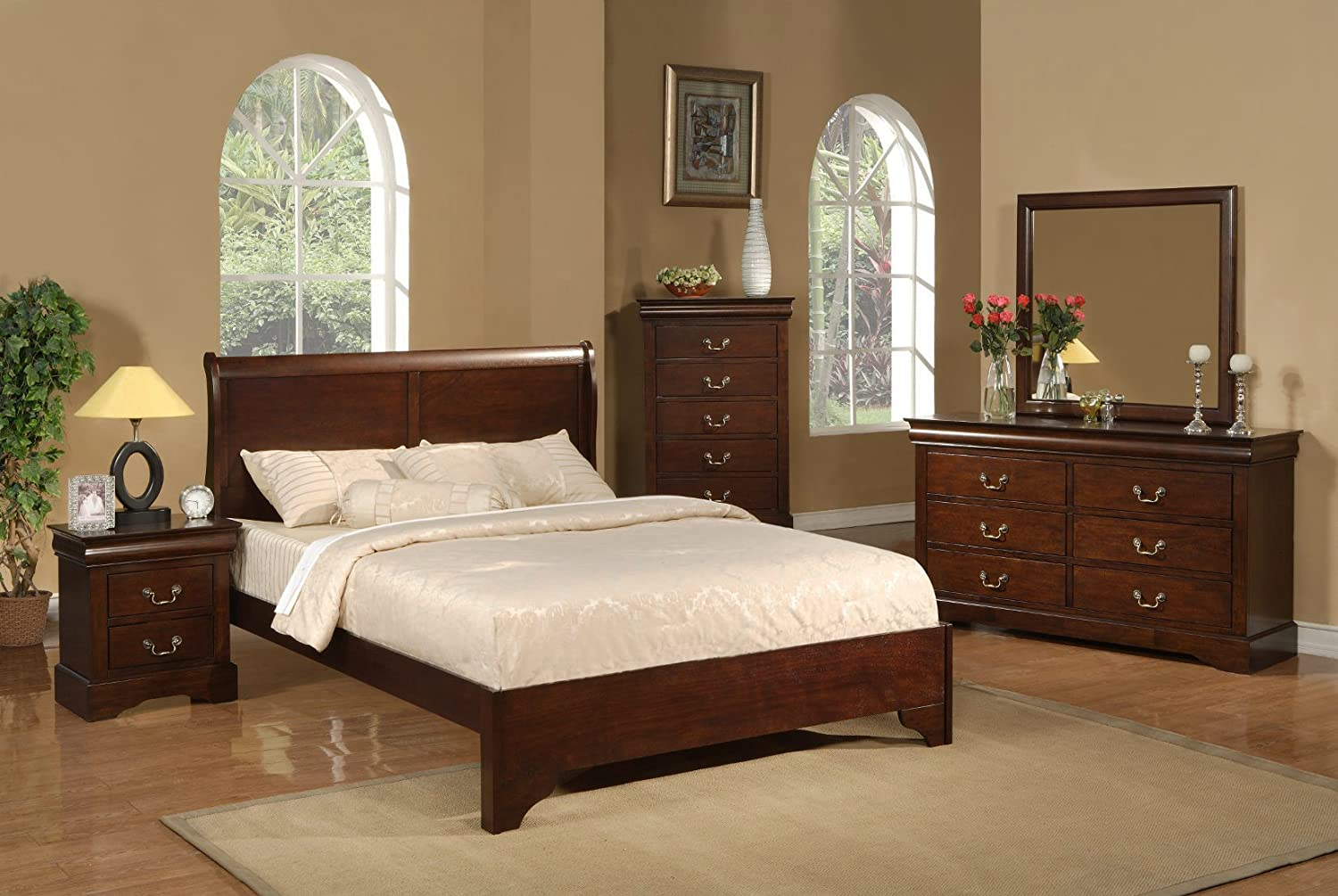 Alpine Furniture 5 Piece West Haven Sleigh Bed Set - King - Cappuccino