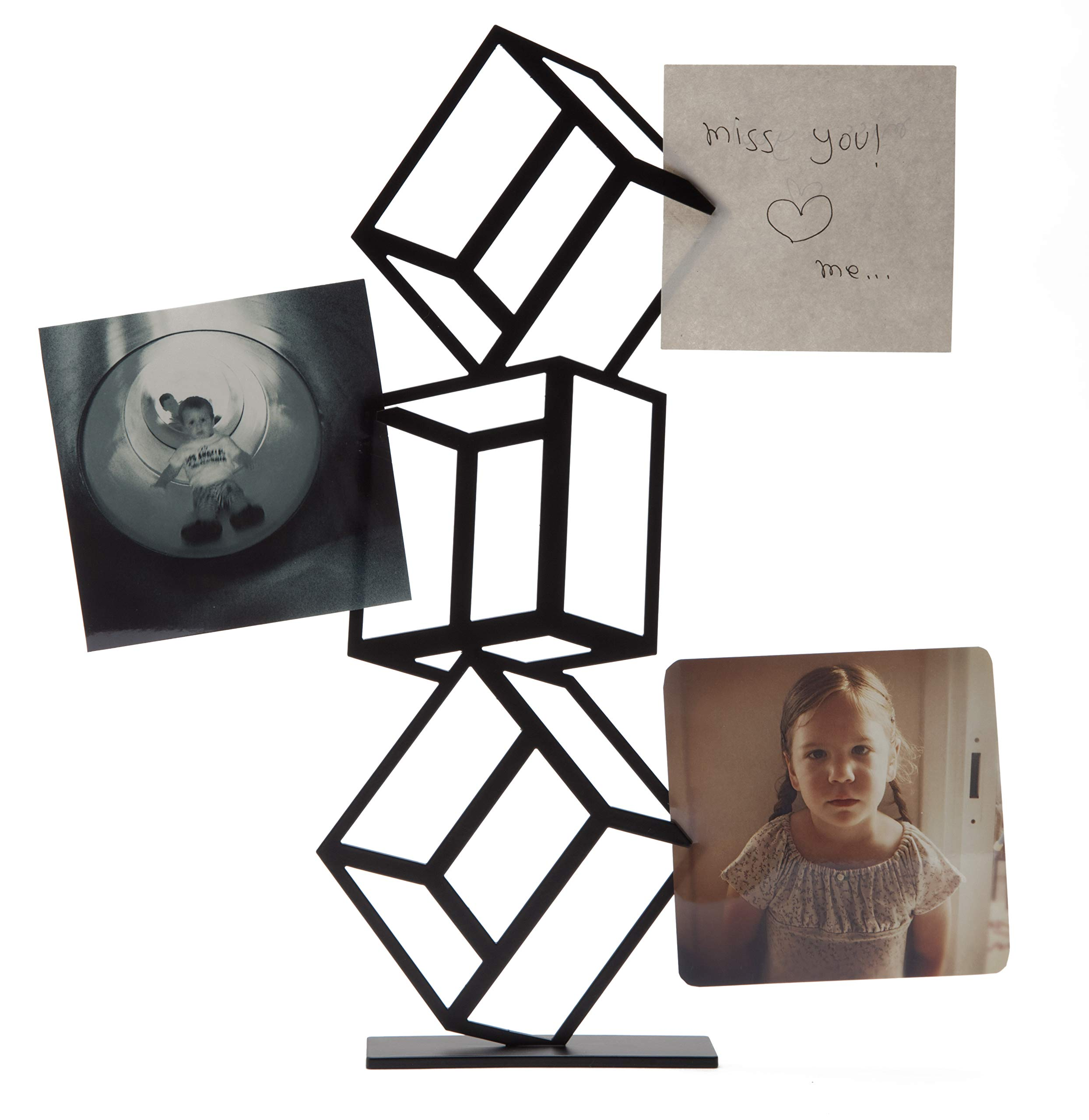 Artori Design - Cube Tower - Black Metal Table Unit for Pictures, Memos & Notes. Office, School, Work space Gift.