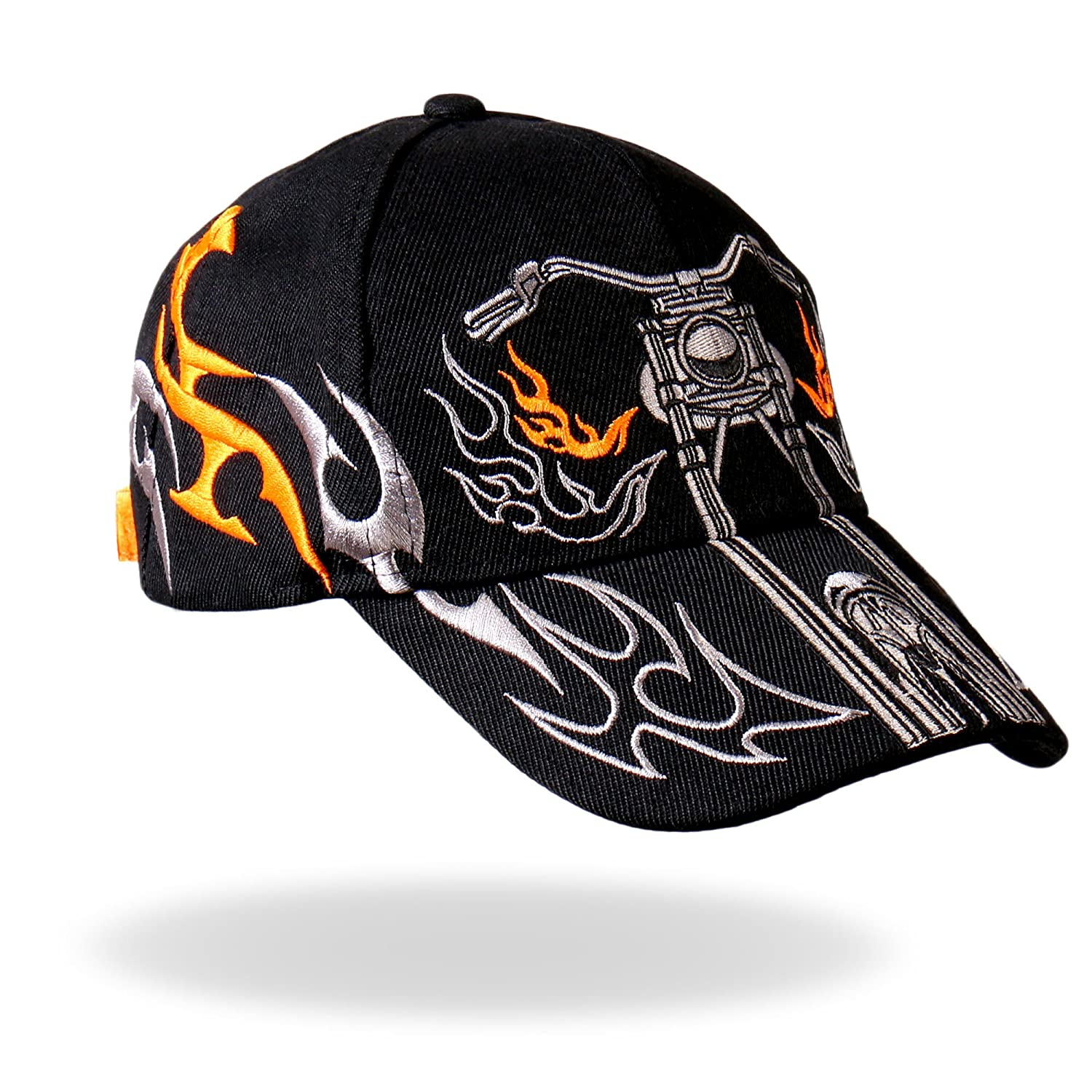 BCA1024 Hot Leathers Tribal Bike Ball Cap Black