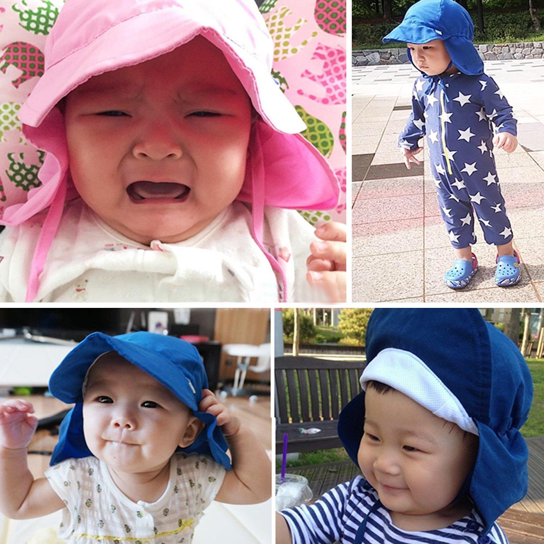 Kids Sun Hat Boys/Girls Toddlers Sun Protection Hat UPF50+ Long Neck Flap Swim Hat (2 Navy Blue) by Sunlightfree (Image #3)