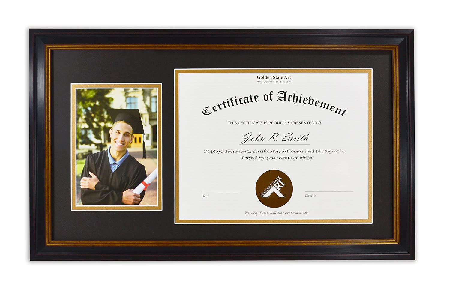 Golden State Art, 11x19.5 Frame for 8.5x11 Diploma/Certificate & 5X7 Picture, Black Gold & Burgundy Color. Includes Black Over Gold Double Mat and Real Glass GSA-G-GC069-1462-BX-11195-02 SF0265