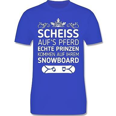 Wintersport - Scheiß aufs Pferd Echte Prinzen Kommen auf Ihrem Snowboard -  S - Royalblau -