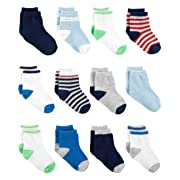 Simple Joys by Carter's Boys' 12-Pack Socks, Blue/White/Grey 0-3 Months
