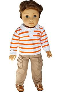 32c264024e1 Brittany s My Orange Striped Top and Khaki Pants Compatible with American  Girl Boy Dolls- 18