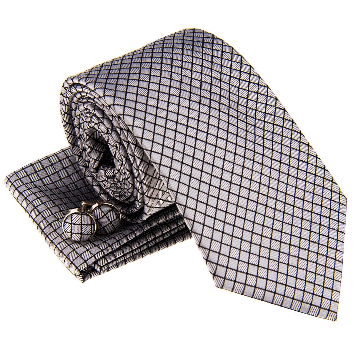 Retreez Check Textured Woven Mens Tie Necktie w//Pocket Square /& Cufflinks Gift Set