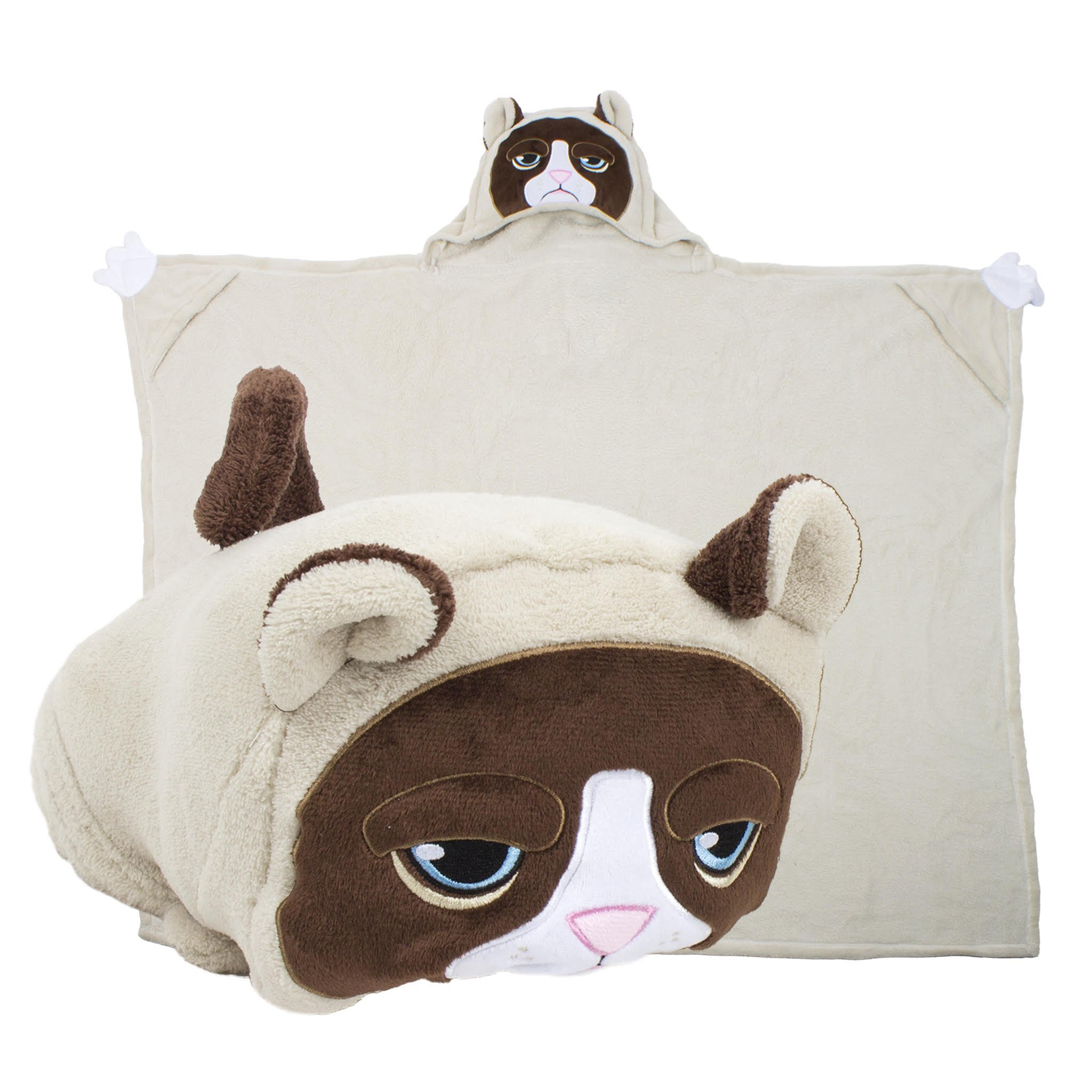 Comfy Critters Stuffed Animal Blanket – Grumpy Cat – Kids Huggable Pillow and Blanket Perfect for Pretend Play, Travel, nap time.