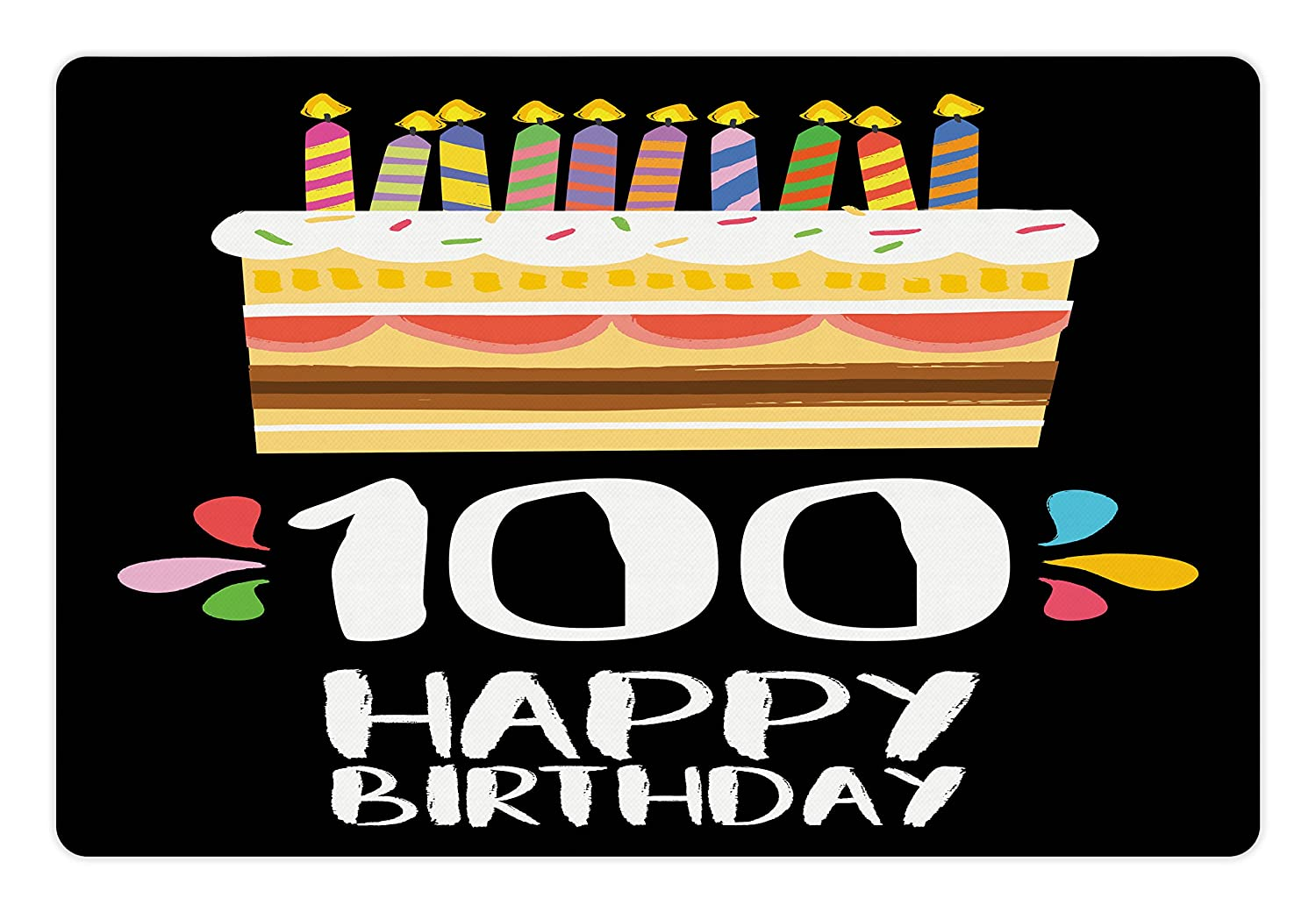 Ambesonne 100th Birthday Pet Mat For Food And Water Old Legacy 100 Party Cake Candles On Black Major Milestone Backdrop Rectangle Non Slip Rubber
