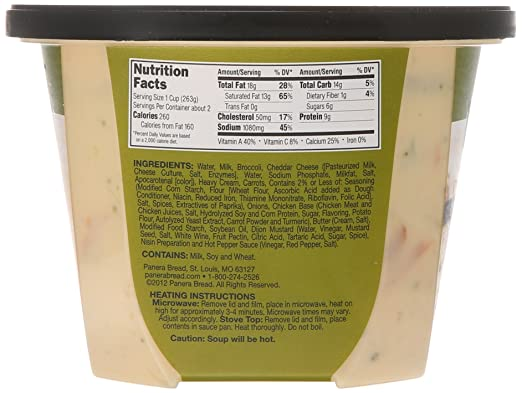 Surprising Panera Broccoli Cheese Soup Nutrition Facts Pictures ...