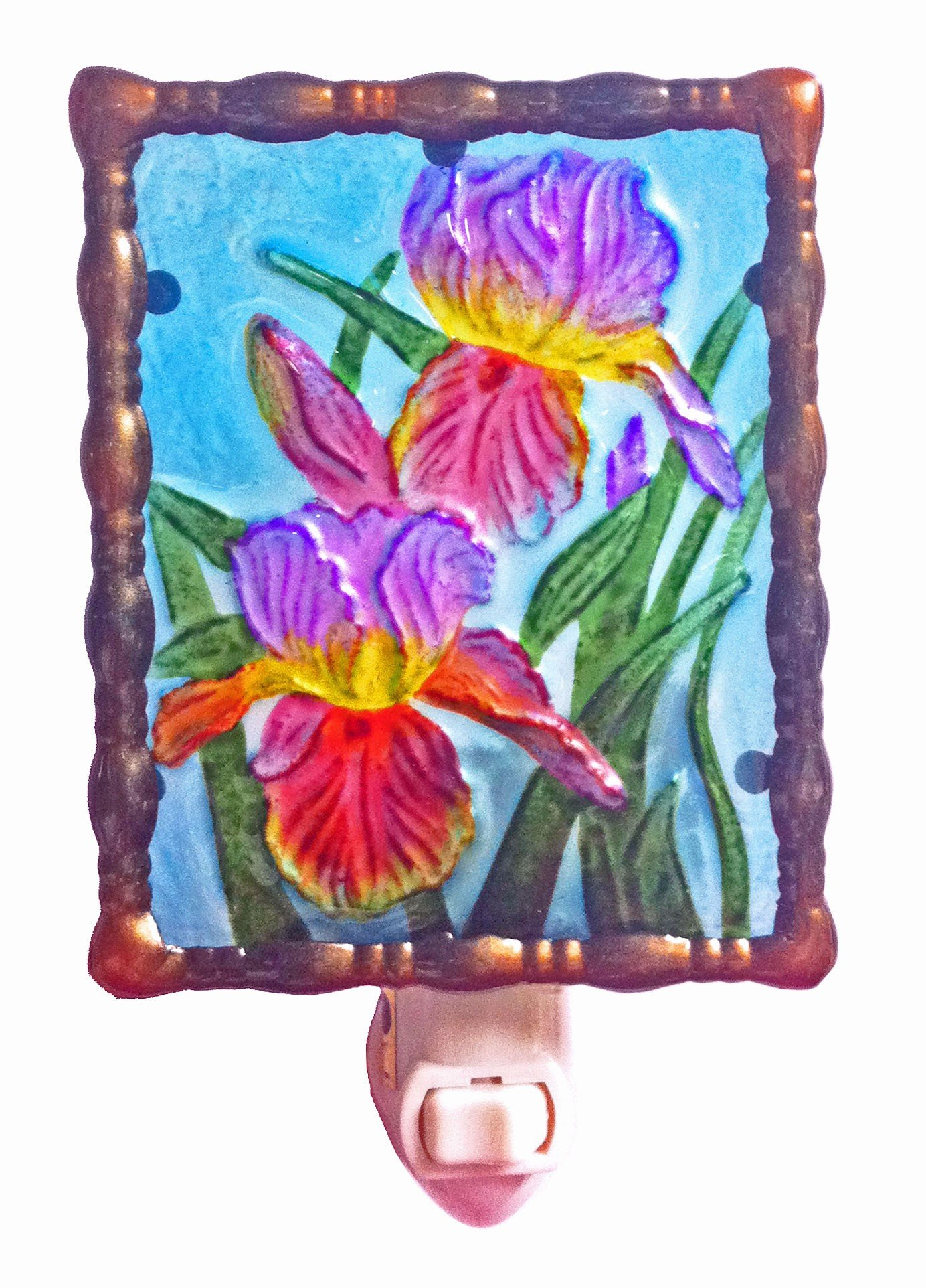 Continental Art Center NL9402 Hand Painted Glass with Night Light Irises, 5.2 by 5.6 by 1.6-Inch