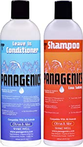 Panagenics | Pet Shampoo and Leave-In Conditioner Combination Set (16 ounce bottles) - Safe for ALL animals, Unscented, Contains Citrus and Aloe Active Ingredients