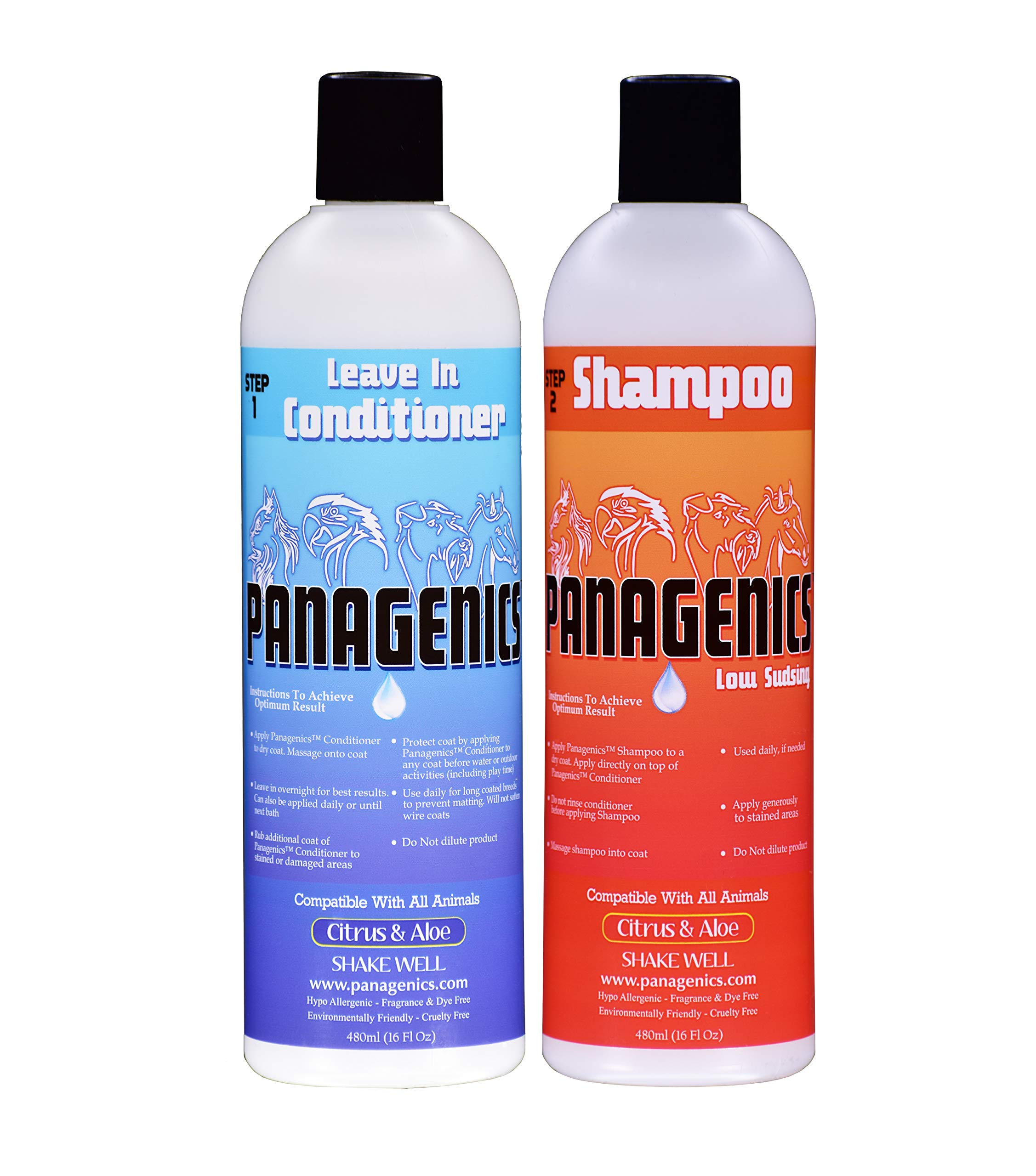Panagenics | Pet Shampoo and Leave-In Conditioner Combination Set (16 ounce bottles) - Safe for ALL animals, Unscented, Contains Citrus and Aloe Active Ingredients by Panagenics