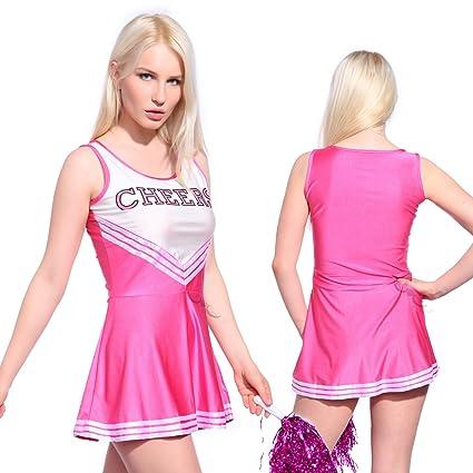 Anladia - Disfraz de Animadora Cheerleader para Adulta Mujer Mini Vestido sin Mangas con Letras ¨Cheers¨ Color Rosa Talla 36 38 40 42 44 (XS (36))