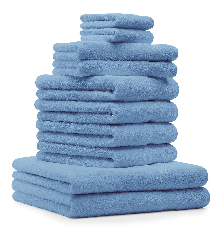 Betz lot de 10 serviettes set de 2 serviettes, draps de bain 4 serviettes de toilette 2 serviettes d'invité 2 lavettes 100% coton Classic color orange