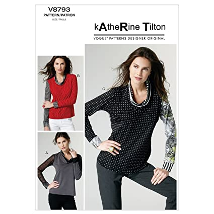 Vogue Patterns V8793 - Patrones de costura para camisetas de mujer (tallas XS, S