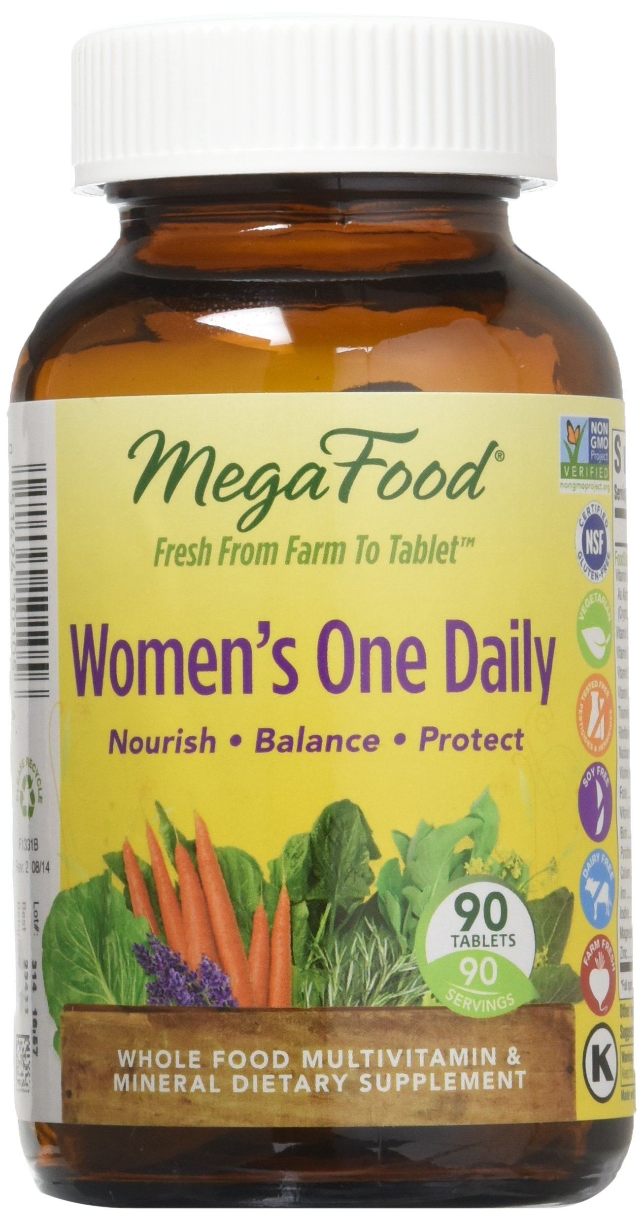 MegaFood - Women's One Daily, Supports Healthy Emotional Balance & Stress Response, 90 Tablets
