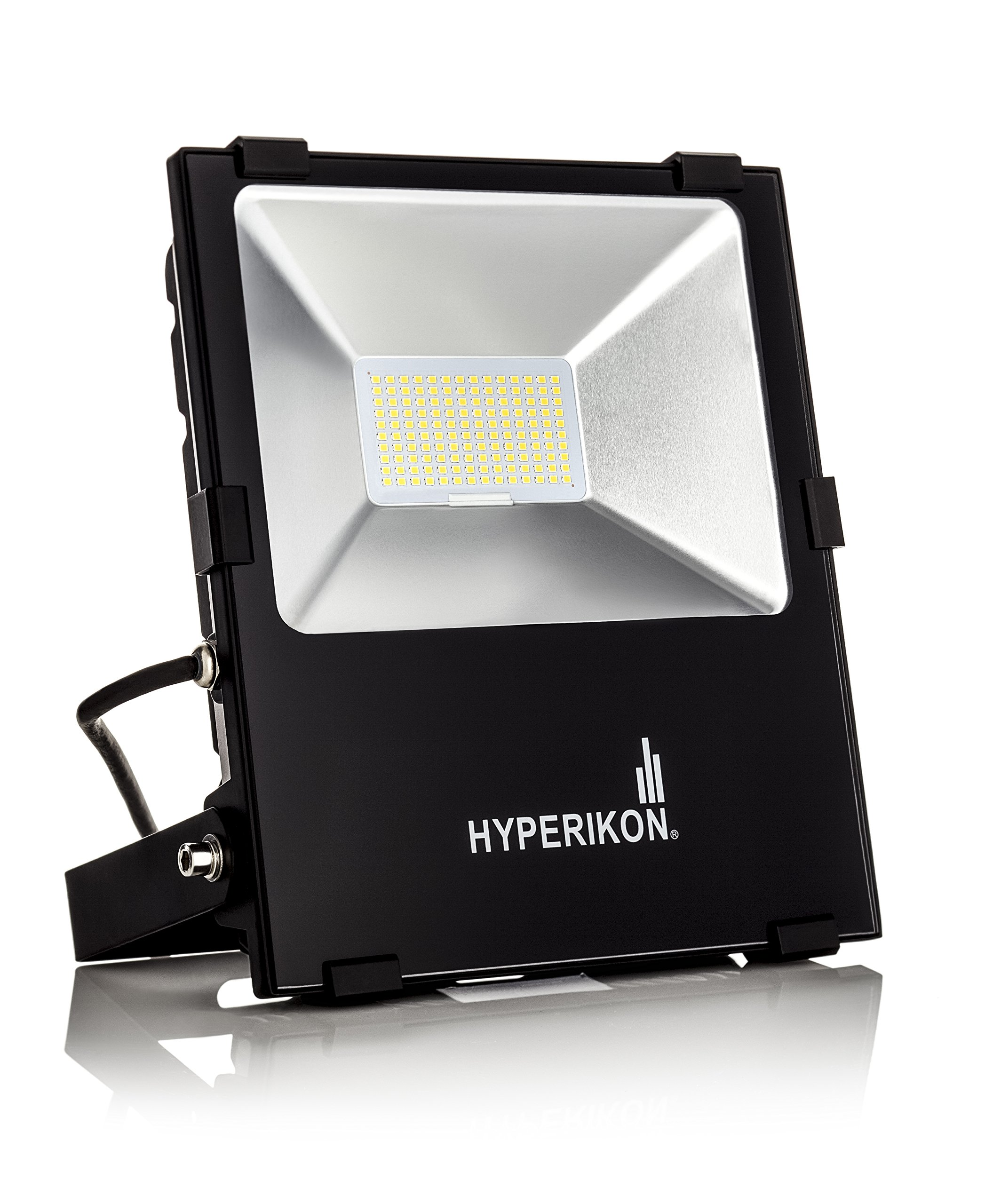 Hyperikon LED Flood Light,100w (500w Equivalent), 5000K (Crystal White Glow), Waterproof, IP65, 120-277v, Instant On, UL and DLC by Hyperikon