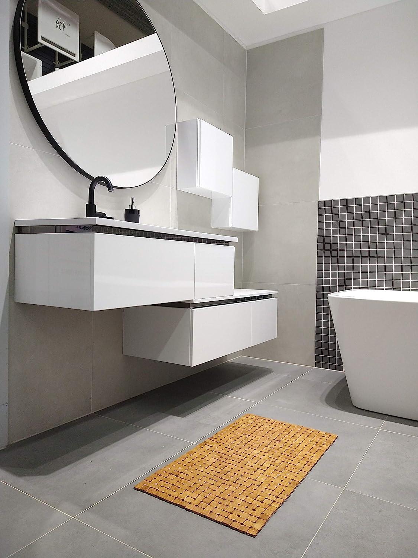Interior y Exterior Alfombrilla de ba/ño de bamb/ú para ba/ño Bienestar Sauna 45 x 80 cm Kos Design Antideslizante Ducha SPA