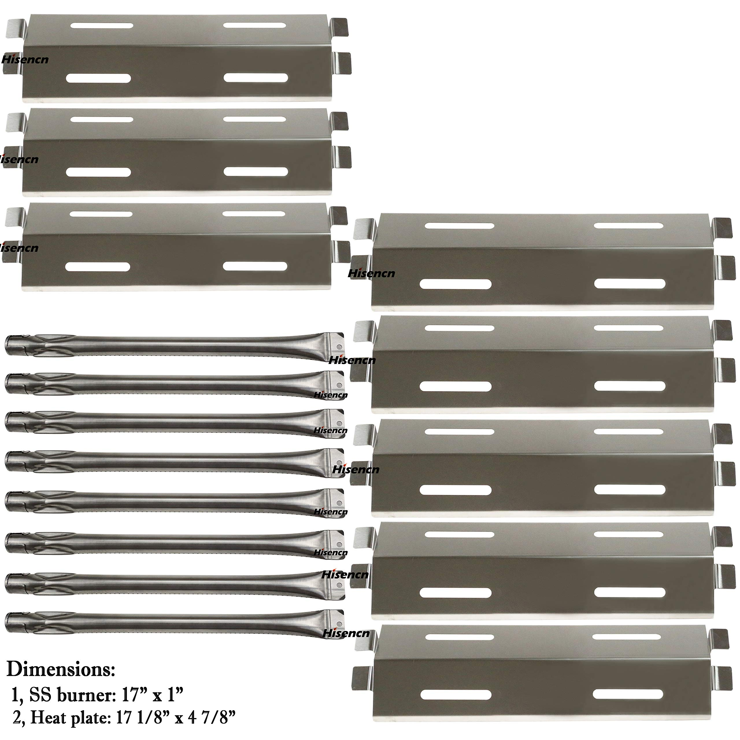 Hisencn 8Pack Repair Kit Stainless Steel Grill Burners,Heat Plates, Heat Shield Replacement for Bakers and Chefs GR2039201-BC-00, GD430, ST1017-012939, Grill Chef, Members Mark Gas Grill Models by Hisencn