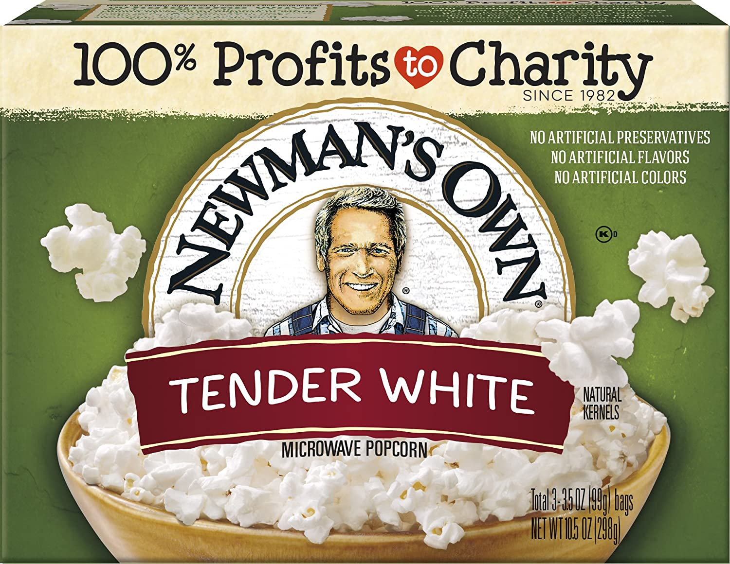 Newman's Own Microwave Popcorn, Tender White, 9.6-oz. (Pack of 12)