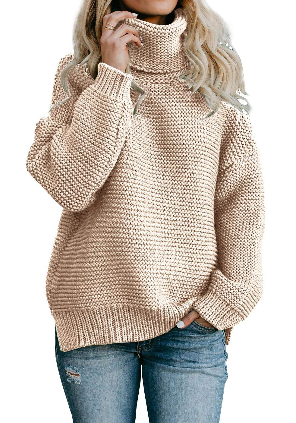 Yacooh Womens Pullover Sweaters Turtleneck Oversized Rib Knitted Long Sleeve Warm Sweater