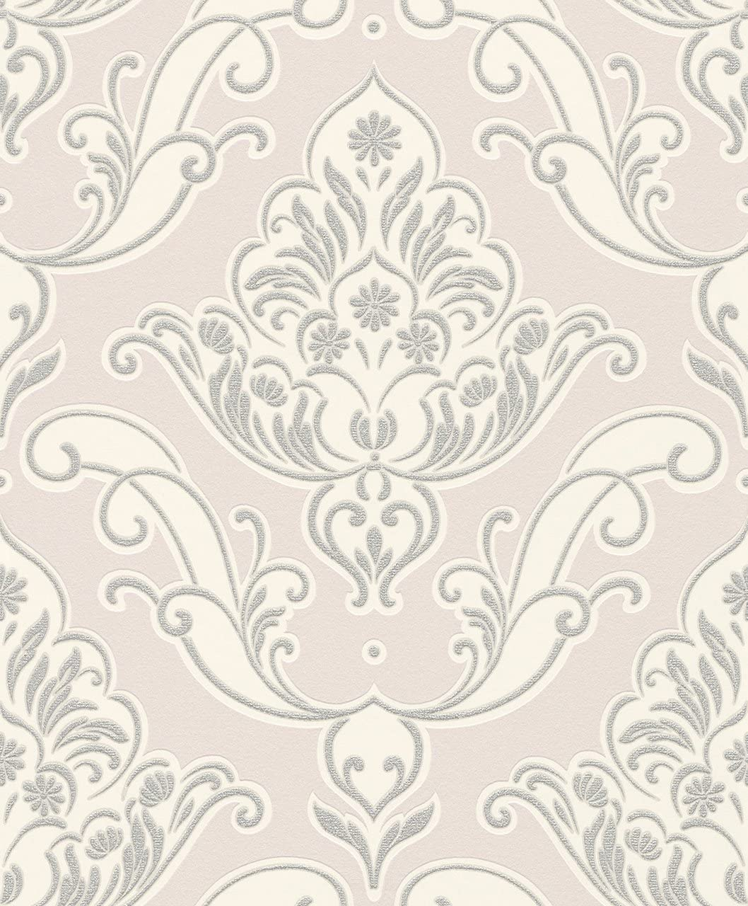 GATSBY GLITTER DAMASK WALLPAPER PINK SILVER RASCH 319637 FEATURE WALL NEW