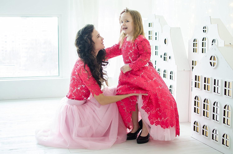 Mother daughter star floor length dresses in pink blush color
