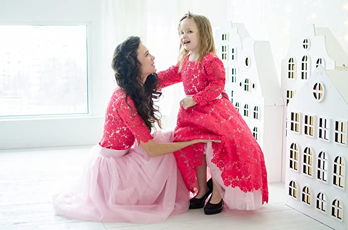 Crimson Mother Daughter Matching Lace Dresses Mommy And Me Floor Length Outfits Raspberry