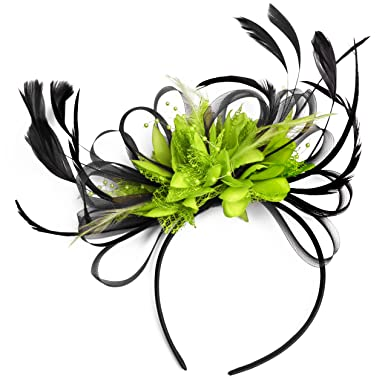 Black and Lime Green Feather Hair Fascinator Headband Wedding Royal ... 309fe5b56ab