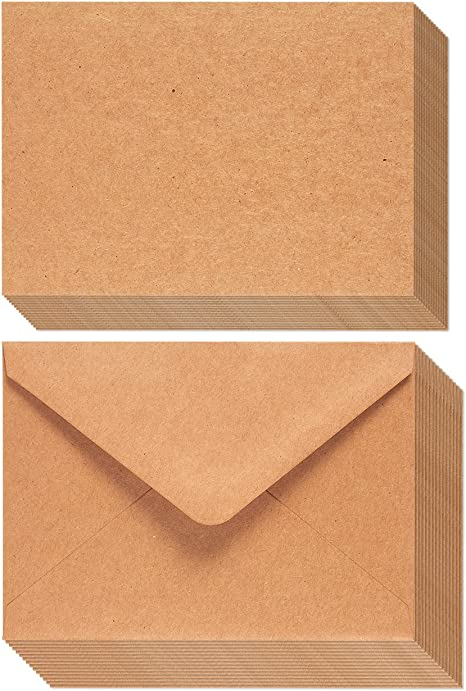 A7 Envelopes and Cards - 50-Count A7 Invitation Envelopes and 50-Count 5 x 7 Flat Cards, Kraft Paper A7 Cards and Envelopes Set for Weddings, ...