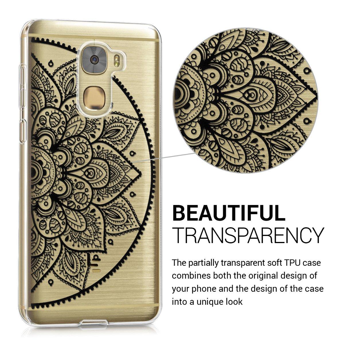kwmobile Funda para LeEco Le Pro 3 - Carcasa de TPU para móvil y diseño de Medio Mandala en Negro/Transparente
