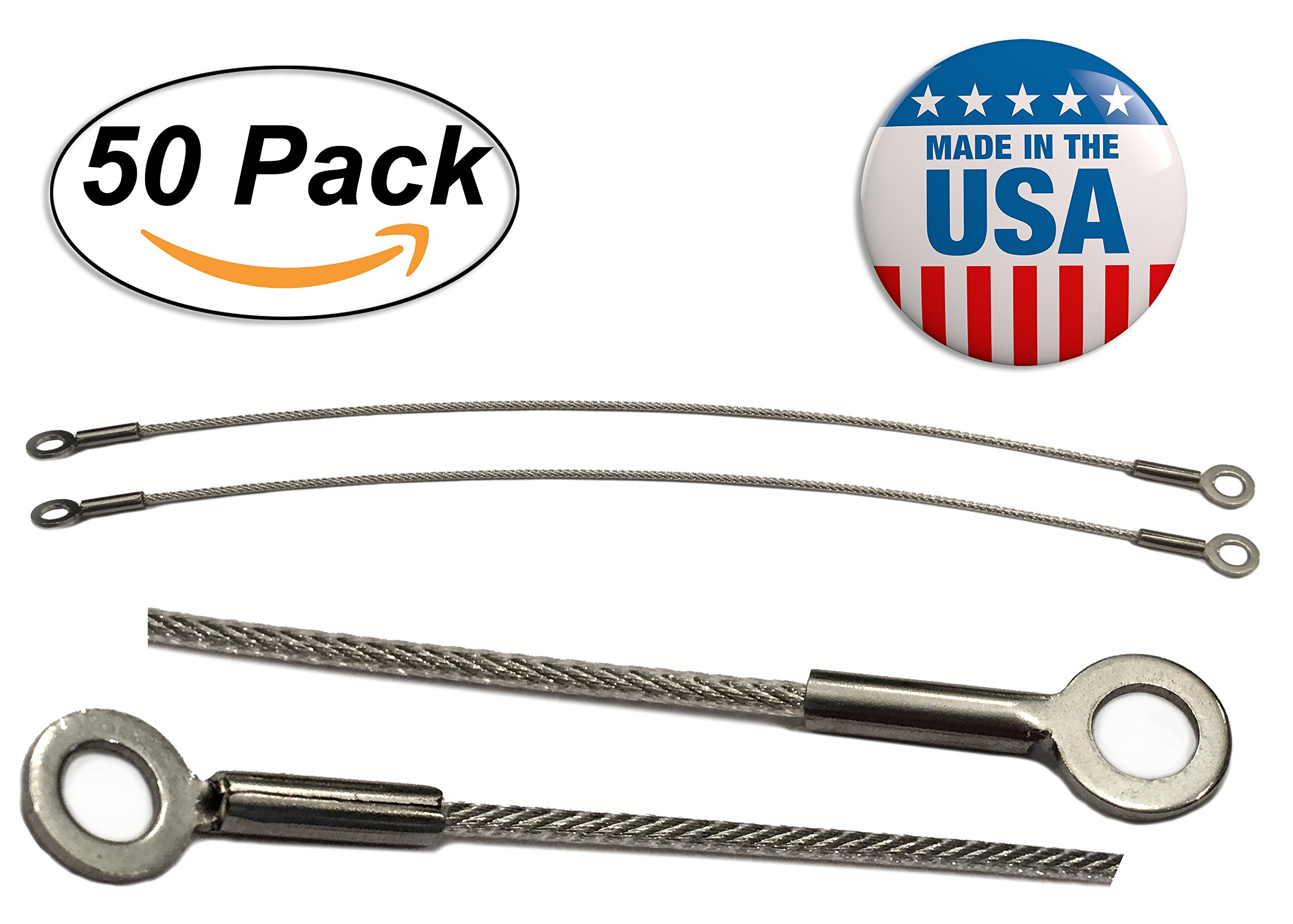 Stainless Steel Cabinet Door Restraint Kit (Packs of 2, 5, 10 or 50) 8 inch Cupboard Hinge Limiter, Restrict Door Swing, Flexible Braided Cable, Limit Door Opening Angle, Made in USA (50 Pack)