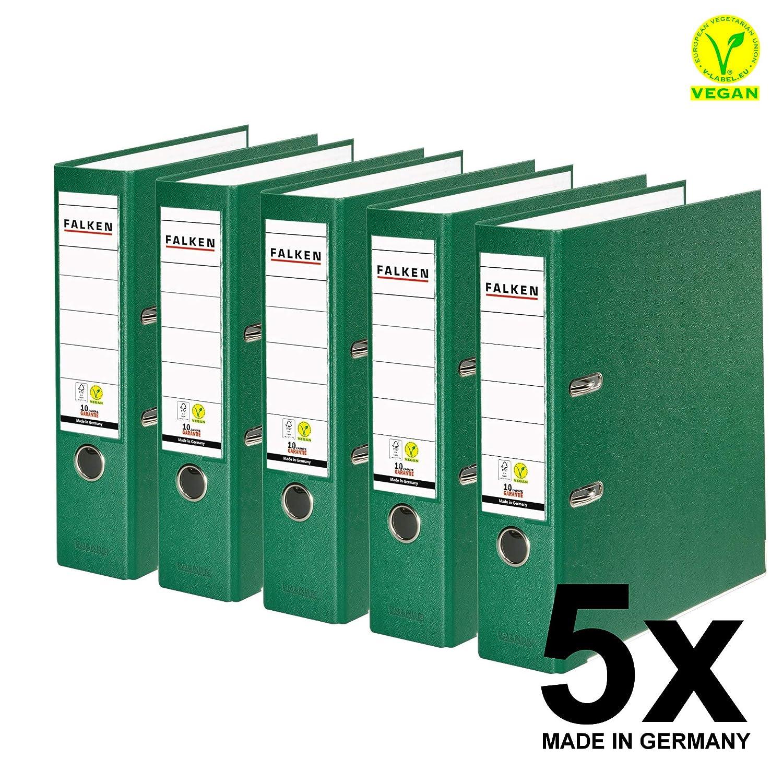 Original Falken 10er Pack PP-Color Kunststoff-Ordner Made in Germany 8 cm breit DIN A4 schwarz Vegan Ringordner Aktenordner Briefordner B/üroordner Plastikordner Schlitzordner