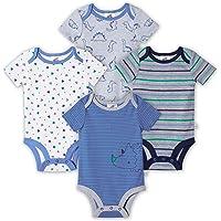 JUST BORN Baby Boys' 4-Pack Organic Short Sleeve Onesies Bodysuits