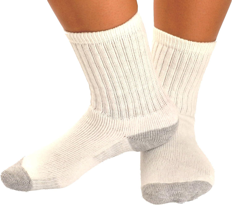 Prospirit Confort White Crew Socks 6 Pack Boys Youth Size 7 to 8.5 0304 Girls