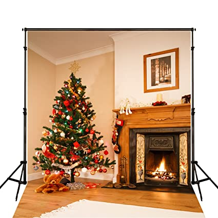 5x7 wood fireplace photo background backdrop yellow christmas tree christmas backdrops for photography wrinkles free