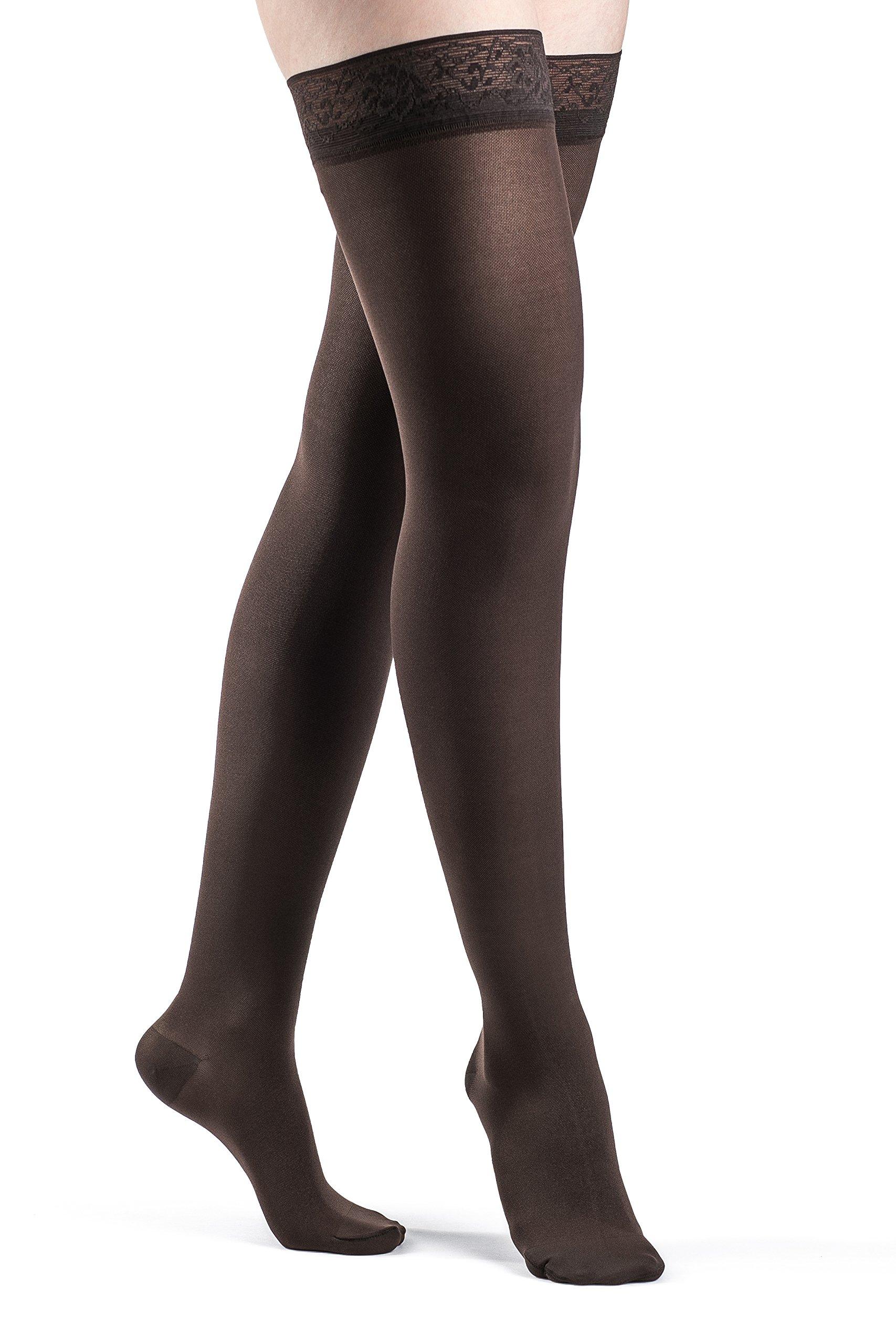 SIGVARIS Women's SOFT OPAQUE 840 Closed Toe Thigh High w/ Grip-Top 20-30mmHg