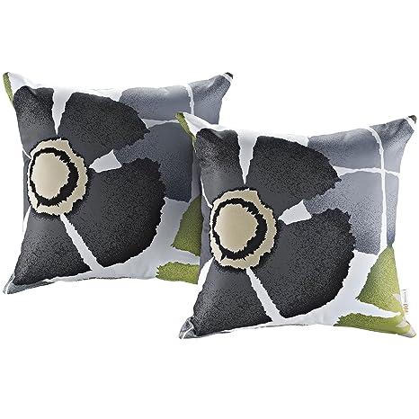 Modway 2 Piece Outdoor Patio Pillow Set, Botanical