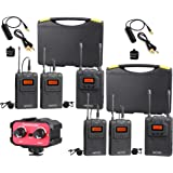 Movo Wireless UHF Quad Lavalier System with 4 Bodypack Transmitters, 2 Portable Receivers, and 2-Channel Audio Mixer for DSLR Cameras & Camcorders