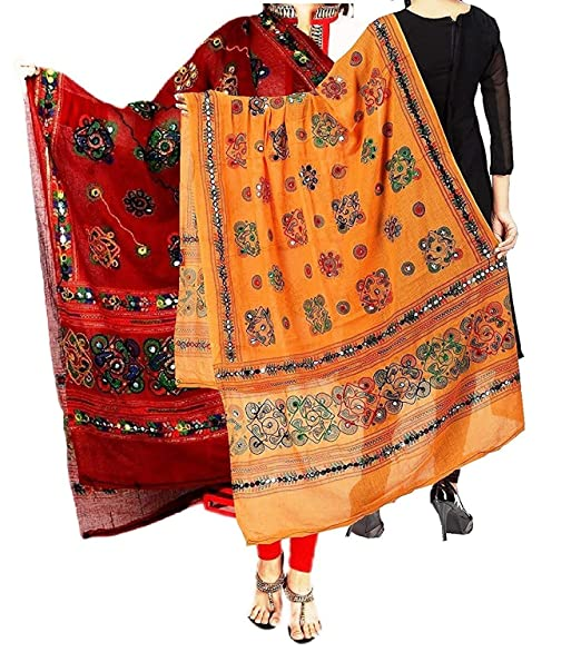 Fashion house Beautiful Women s Cotton Embroidery   Mirror Work Stylish  Ethinic Multicolour Dupattas   Stoles (red   orange combo)  Amazon.in   Clothing   ... 3f1b83bafd