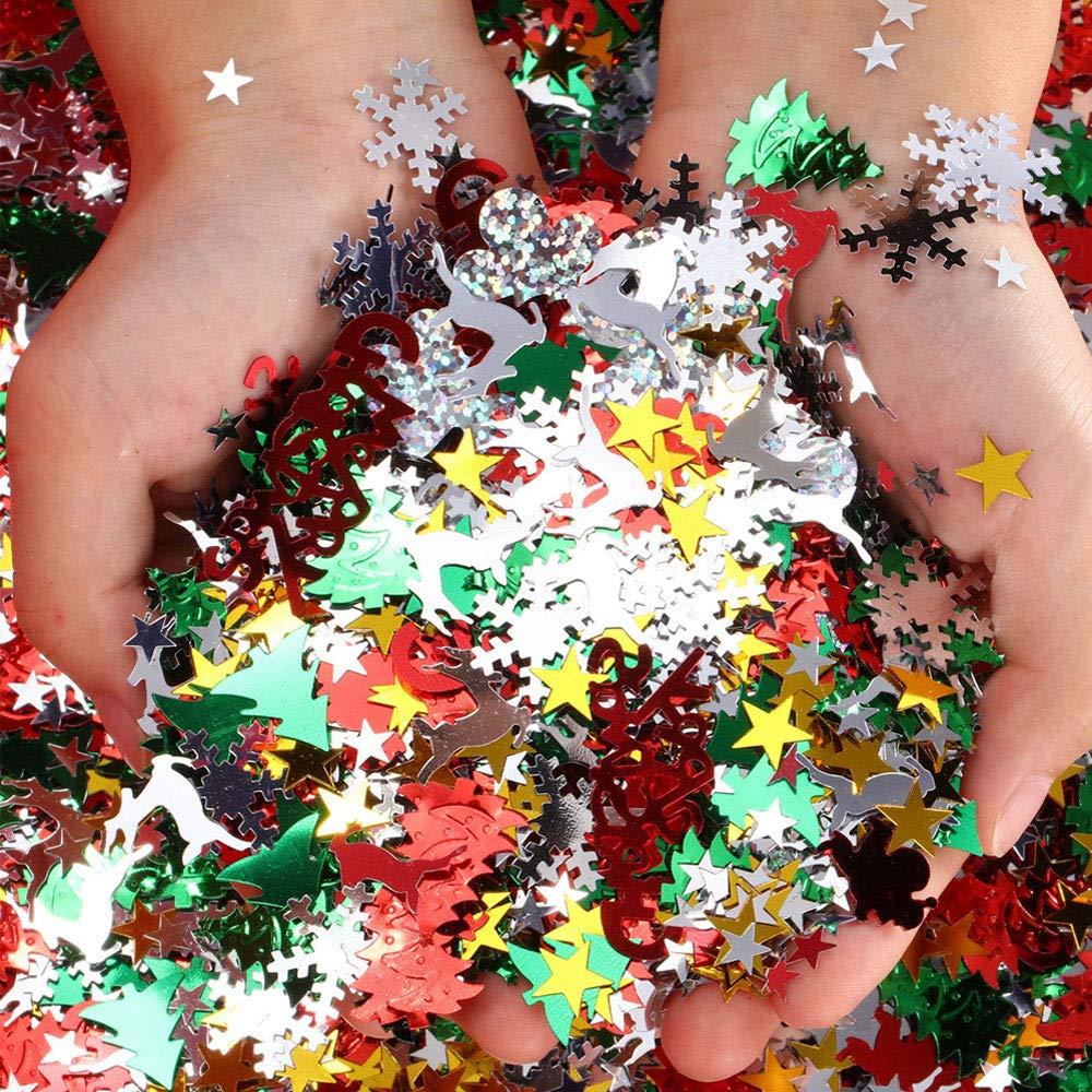 Kungfu Mall 60g 10 Styles Paillettes de no/ël confettis f/ête de no/ël d/écoration-Flocon de Neige P/ère No/ël Renne Confetti pour No/ël Maison Enfants Artisanat d/écoration