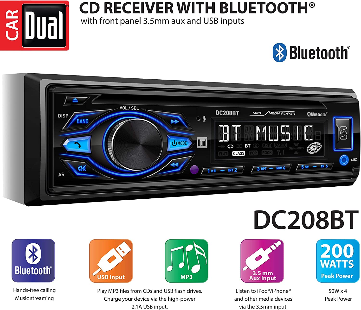 MP3 /& WMA Player Dual Electronics XR4115 Multimedia Detachable Mechless LCD High Resolution Single DIN Car Stereo Receiver with Built-In USB SD Card
