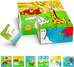 Gamie 6 in 1 Wooden Blocks Puzzle for Kids, Wood Animal Puzzle with 6 Nature Scenes, Fun Children's Educational Learning Toy, Great Gift Idea for Boys and Girls