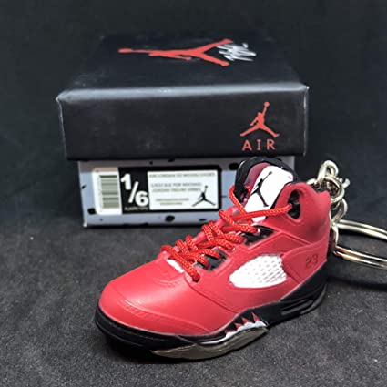 newest collection ed6fa a64da Amazon.com   Air Jordan V 5 Retro Raging Bull Toro Red OG Sneakers Shoes 3D  Keychain 1 6 Figure + Shoe Box   Everything Else