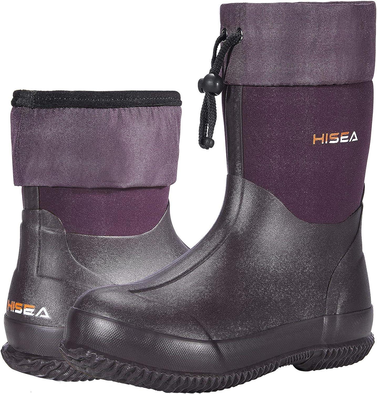 HISEA Ankle Rain Boots Waterproof Garden Boots Rubber Muck Mud Boots Outdoor Work Boots for Women Men