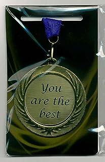 m-shop 'Élégant Médaille/Prix avec gravure laser Plaque et cordon tour de cou You Are The Best ordre le bande Diamètre 70mm Bleu message 4 you