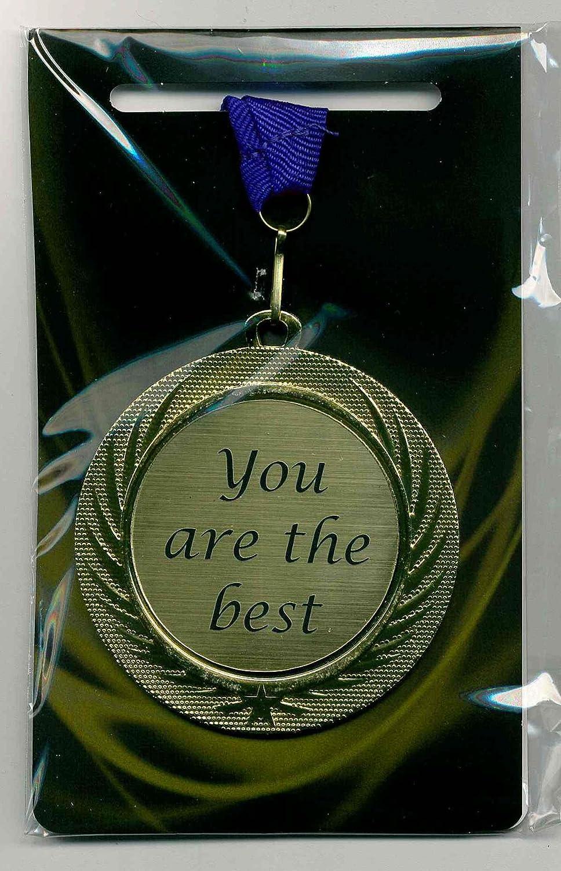 m-shop 'puede/Medalla Premio cartel con grabado láser y correa azul You Are The Best orden AM banda Diámetro 70mm message 4 you