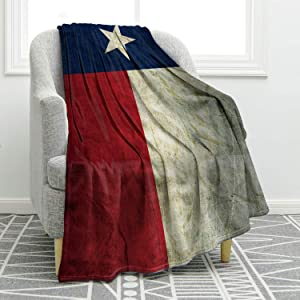 """Jekeno Texas Flag Throw Blanket Comfort Warmth Vintage Print Blanket for Couch Bed Chair Office Sofa 50""""x60"""""""