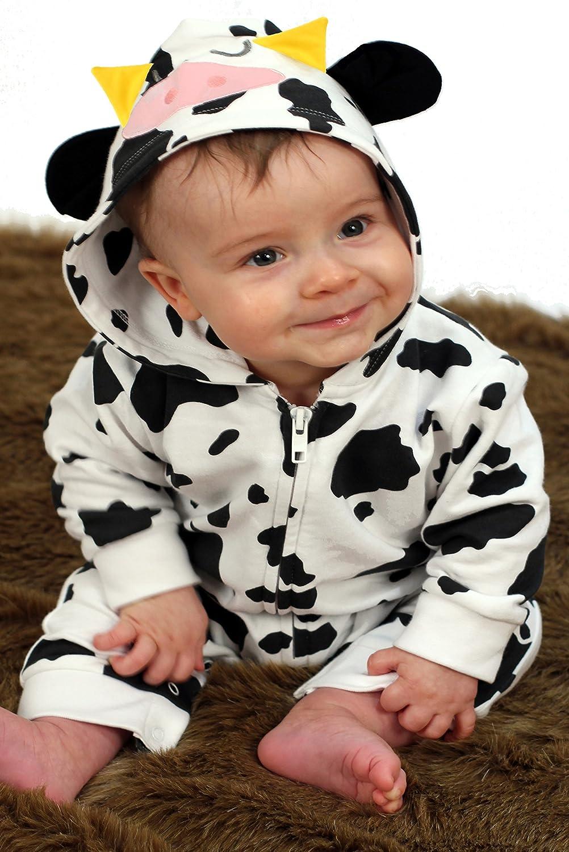 Pelele para bebé de Baby Moo's, diseño de vaca; disfraz de bebé, regalo ideal para niñas o niños Black, Beige Talla:1-2 años