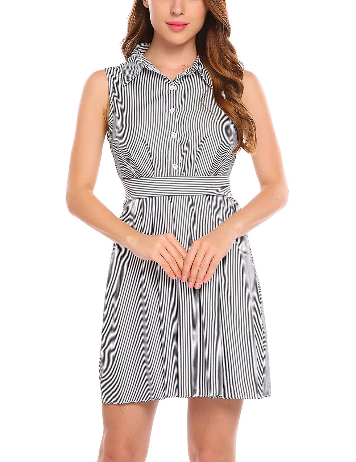 Zeagoo Women Casual Striped Sleeveless Fit And Flare Pleated Shirt